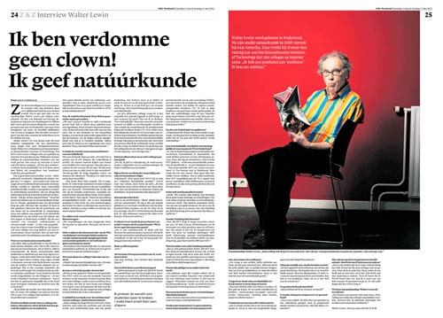 Walter Lewin in NRC Handelsblad by ROger Cremers 2012