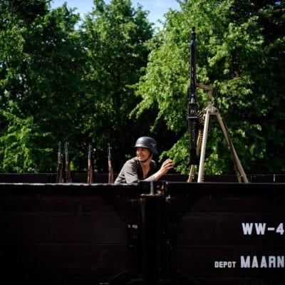 Nederland, Twisk, 08-05-2011 tijdens de Duitse bezetting (station Twisk) In het weekend van 7 en 8 mei zal de Museumstoomtram Hoorn-Medemblik in samenwerking met verschillende verenigingen op het gebied van Levende Geschiedenis en de gemeente Medemblik het spoor tussen Hoorn en Medemblik volledig terugbrengen in de sfeer van de jaren '40 - '45. Op station Hoorn stapt u in de stoomtram om vervolgens op elk station een kijkje te kunnen nemen in verschillende periodes van de Nederlandse oorlogsjaren. PHOTO AND COPYRIGHT ROGER CREMERS