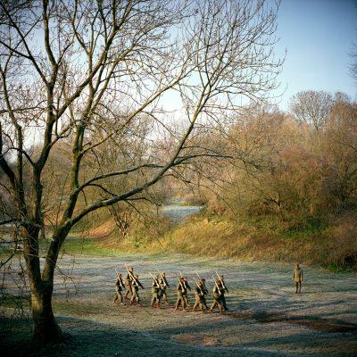 Nederland, Bunnik, 28-11-2010 Maandelijke oefen dag van Nederlandse Re-Enactors op Fort Vechten in Bunnik. Diversen re-enactor groepen komen samen en trainen voor demonstraties.. PHOTO AND COPYRIGHT ROGER CREMERS