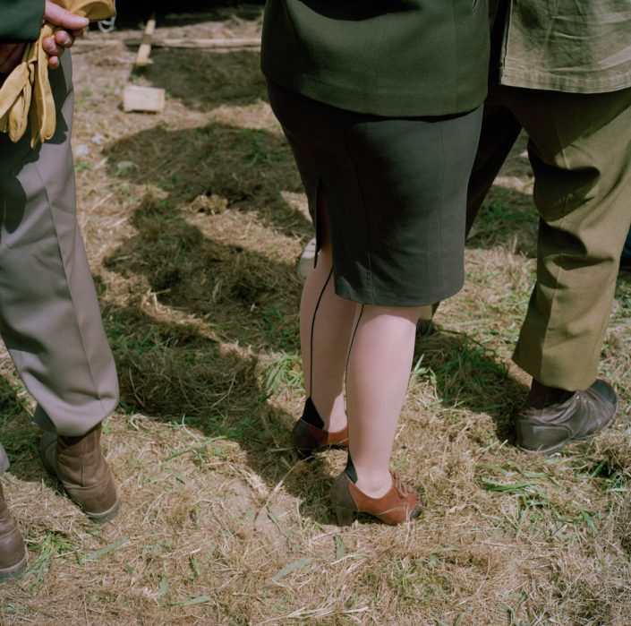 Frankrijk, Carenten, 02-06-2012 Legs of a reenactor Lady at the reenactment camp next to the city centre PHOTO AND COPYRIGHT ROGER CREMERS
