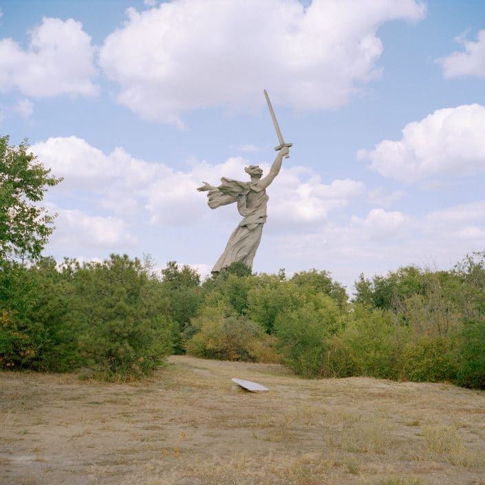 "Russia, Volgograd, 01-09-2013 Mamayev Kurgan memorial complex. ""The Motherland Calls"" is most likely the most famous war memorial of the Second World War ever made. This sculpture has a height of 52 meters (together with the sword even 85 meters) and represents the antique Nike (goddess of victory) calling her sons and daughters to resist the enemy and continue advancing onto it. PHOTO AND COPYRIGHT ROGER CREMERS"