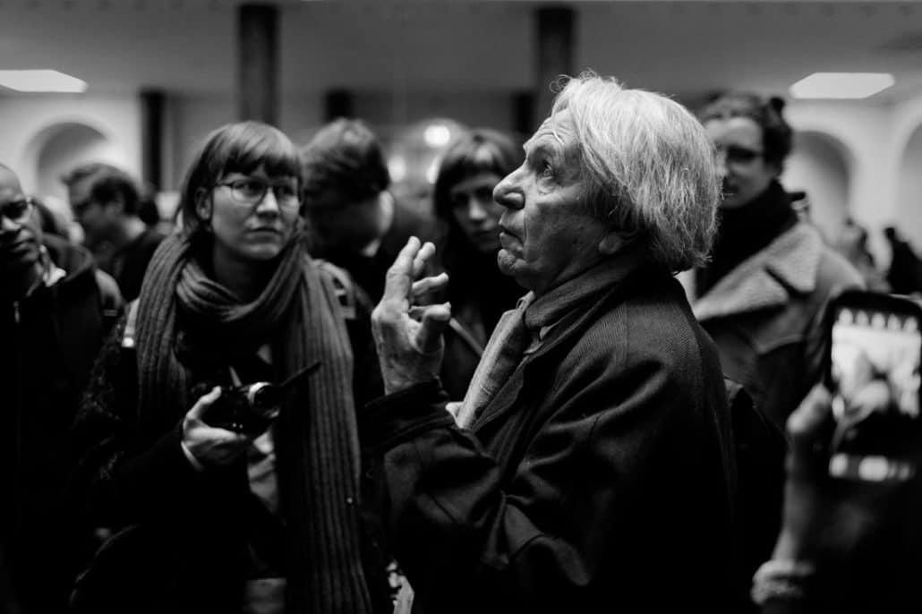 Nederland, Amsterdam, 25-03-2015 De Franse filosoof Jacques Rancière spreekt studenten toe in het Maagdenhuis tijdens de bezetting PHOTO AND COPYRIGHT ROGER CREMERS