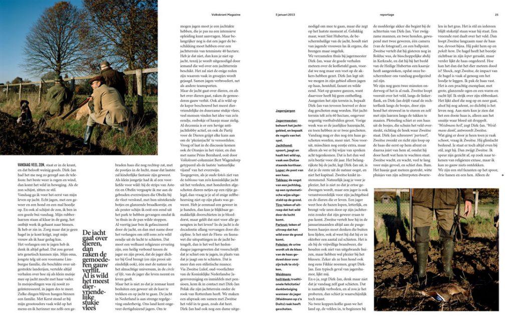 Wildjacht voor Volkskrant Magazine 2013