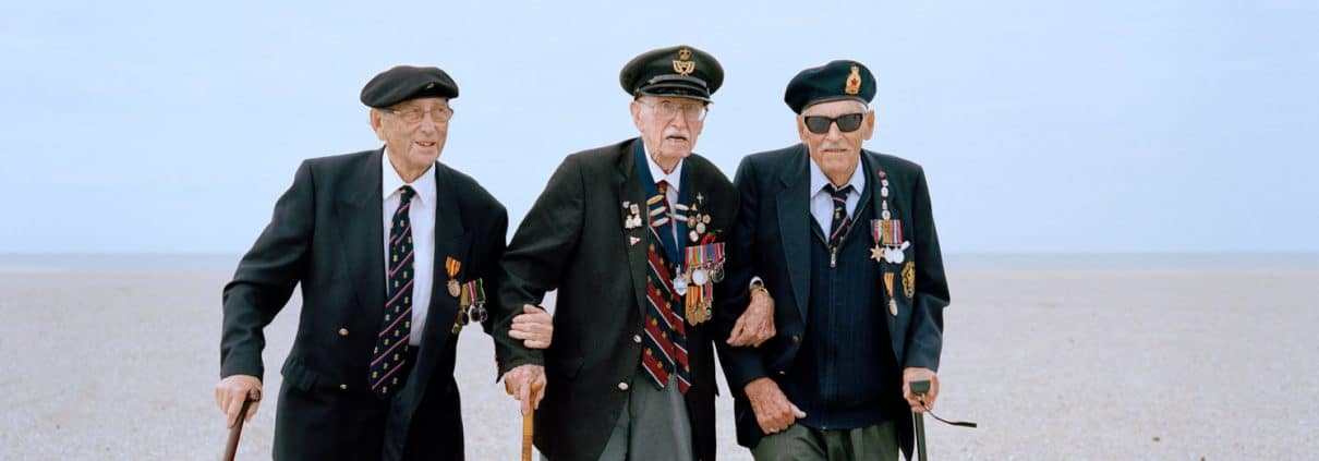 France, Dunkirk, 22-05-2015 Brothers in arms: Mr James Baynes (left), Mr Arthur Taylor (centre) and Mr Michael Bentall (right) were among 338,000 Allied troops that were rescued from Dunkirk, as the British and French troops became surrounded by the German army PHOTO AND COPYRIGHT ROGER CREMERS