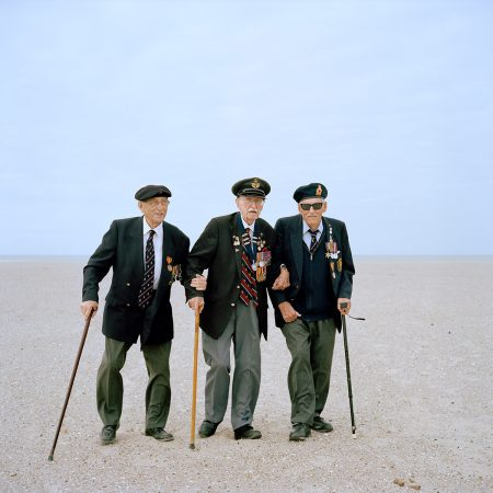 France, Dunkirk, 22-05-2015 94–year-olds James Baynes, Arthur Taylor and Michael Bentall, veterans of the British Expeditionary Force, reunite 75 years later on a Dunkirk beach. They were among the 338,000 allied soldiers who were evacuated as a result of Operation Dynamo (between 27 May and 4 June 1940), when British and French troops were surrounded by the German army during the battle for France. PHOTO AND COPYRIGHT ROGER CREMERS print