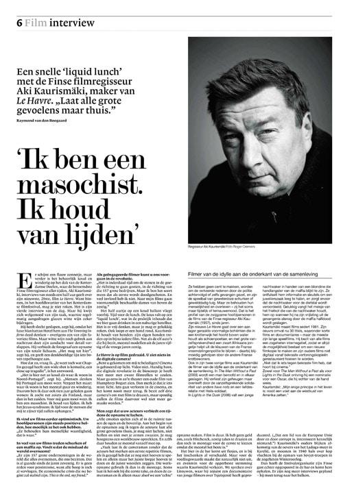 Aki Kaurismaki in NRC Handelsblad by Roger Cremers 2012
