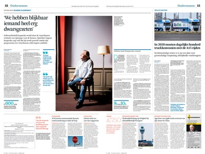 Eugene Kaspersky in het Financieele Dagblad by Roger Cremers2017