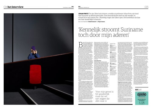 Johan Fretz in NRC Handelsblad Cultureel Supplement by Roger Cremers 2018