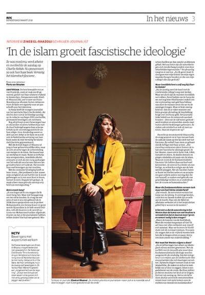 Zineb El Rhazoui in NRC Handelsblad by Roger Cremers 2018