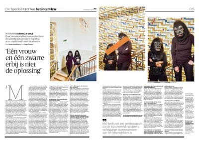 Guerrilla Girls in NRC Handelsblad Cultureel Supplement by Roger Cremers 2018