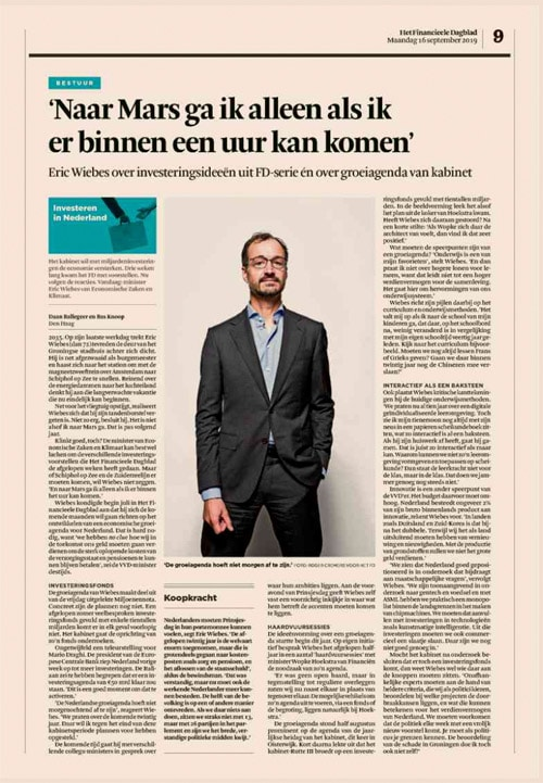 Eric Wiebes in het Financieele Dagblad by Roger Cremers 2019