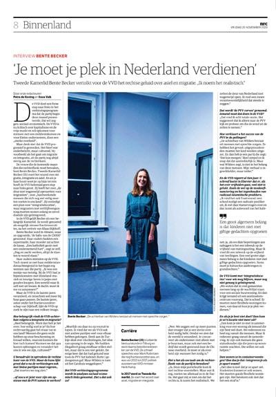Bente Becker in NRC Handelsblad by Roger Cremers 2020
